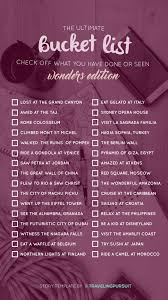 The Ultimate Wonders Travel Check List Check Off Where You Have