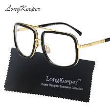 <b>LongKeeper</b> Gold Metal eye glasses <b>frames</b> for men brand flat top ...