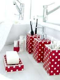 Red Bathroom Accessories Black Es Ideas White And Set Cute Ceramic