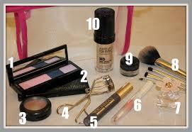 shu uemura eyeshadow quad w blush 2 smashbox contour palette 3 mac creme colour 4 shu uemura eyelash curler 5 l oreal voluminous mascara 6