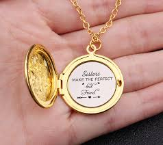 Us 2 85 50 Off Sister Make The Perfect Friends Engraved Photo Locket Necklace Best Frinends Best Sisters Gift Saeater Necklace Jewelry In Pendants