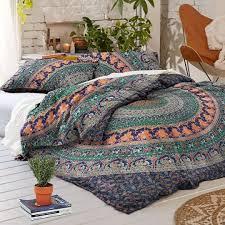 blue boho bedding multi jumbo medallion mandala duvet cover set and dress up your bedding
