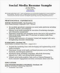 Media Resume Template Social Media Resume