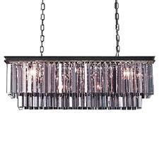 elegant odeon 12 light silver shade glass fringe rectangular chandelier
