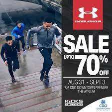 under armour on sale. up to 70% off on under armour merchandise from aug 31 \u2013 sept 3 at sm downtown atrium! join fit republic in one of armour\u0027s biggest sale events sept