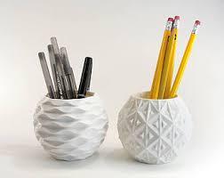 Pen Pot Set of 2 Cute Geometric Pots White Desk Organizer Set White Pencil  Holders Geometric
