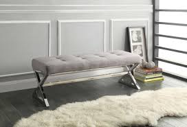 bedroom furniture benches. Rory X-Base Bench - Grey Linen Bedroom Furniture Benches E