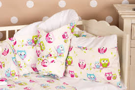 cot bed per and duvet cover 3 pieces set little owls collection vizaro