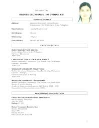 Sample Resume For Filipino Nurses – Francistan Template