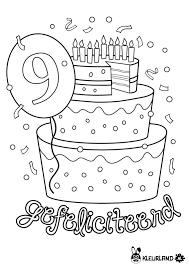 Verjaardagstaart 9 Jaar Coloring Pages Verjaardag School
