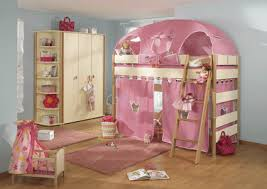 Cool bunk bed for girls Luxurious Childrens Beds Girls Bedroom Desigs In Pink Color Bunk Beds With Pink Curtains And Top Bed Tent Lushome Childrens Bedroom Playful Childrens Beds Kids Bedroom Designs