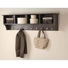 wall mount shelf with 5 hooks coat hook