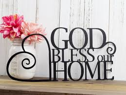 bless our home metal sign heart religious decor with regard to most recent religious