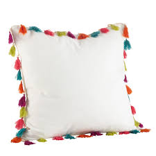 tassel throw pillow.  Throw Shop Colorful Tassel Trim Cotton Down Filled Throw Pillow  On Sale Free  Shipping Orders Over 45 Overstockcom 14691229 For O