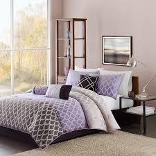 purple bedroom furniture. Purple Gray Geometric Print 7pc Comforter Set Bedroom Furniture M
