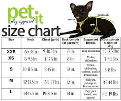 Pet Clothes Size Chart Dog Clothing Size Chart Pet It Dog Apparel Canada Small