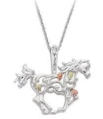 black hills gold sterling silver horse pendant necklace blackhillsgold direct klugex