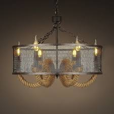 industrial six light rope led chandelier with iron mesh shade
