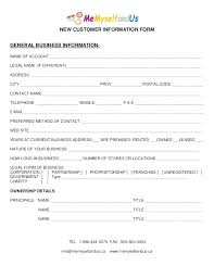 Customer Form Template Template New Customer Account Form Template