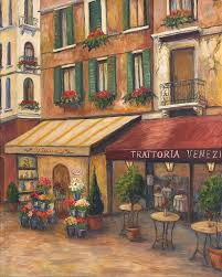 flower market painting venice bistro by joanne morris
