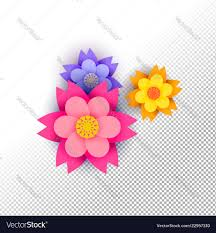 Color Paper Flower Design Color Paper Cut Flower Set On Isolated Background