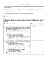 Technical Offer Sample Sample Consultant Proposal Template Consulting Letter
