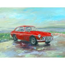 mgb gt at porlock weir classic car painting