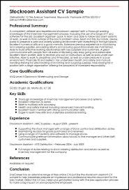 Sample Of Qualifications In Resumes Stockroom Assistant Cv Sample Myperfectcv