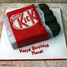 Yummy Kit Kat Shaped Birthday Cake With Name Mansi Birthday Cake