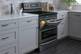black stainless steel appliances trend dual door range