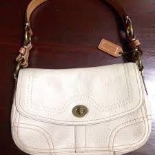 12345678910  authentic coach turn lock flap all leather shoulder bag not  spade