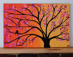 tree painting abstract two birds in a tree at sunset painting on