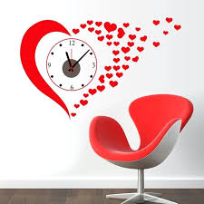 heart wall decor big red heart wall stickers clock home decoration living room painting wall clocks heart wall decor