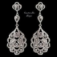 art deco chandelier earrings bridal earrings antique silver crystal earrings great gatsby style gift