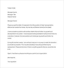two weeks notice letter sample example format retail two weeks notice letter source sample resignation letters com