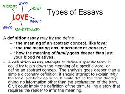 the essay an essay is a short piece of writing that discusses  types of essays a definition essay try and define