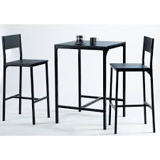 KOOL Ensemble table bar en métal et MDF 2 personnes 60x60 cm + 2 ...