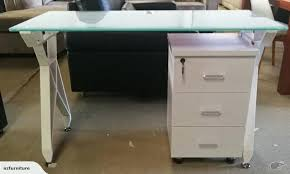 glass top office desk factory white table with three drawers cabinet trade me diy india design glass top office desk