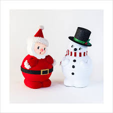 Charming Ideas Snowman Christmas Decorations Surprising Retro 1950s Santa  With Figures