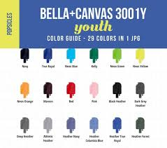 Bella Color Chart Bella Canvas 3001y Youth Color Chart Mockup Kids Shirt Color Showcase Child Tshirt Color Guide With Popsicle Shaped Swatches