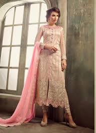 Front Open Salwar Neck Designs Glitzy Pink Net Embroidered Designer Front Open Salwar Suit