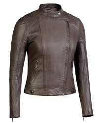 taupe corbani asymmetrical scuba leather jacket with quilt