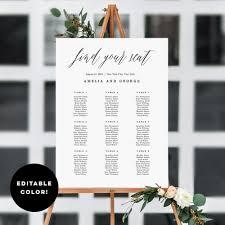 diy wedding seating chart editable template
