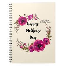 fuchsia poppies fl wreath happy mother s day notebook
