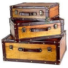 vintage luggage. vintiquewise(tm) old vintage suitcase/decorative trunk, set of 3 luggage a