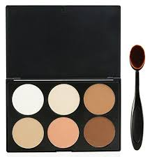 evermarket makeup contour kit highlight and bronzing powder palette 6 colors with premium oval make