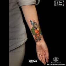 фото татуировки птица в стиле авторский акварель графика нео