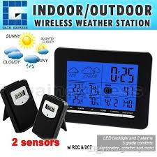 2019 s08s3318bl 2s digital indoor outdoor temperature wireless weather station rcc dcf radio controlled clock date calendar 2 sensors from gainexpressa