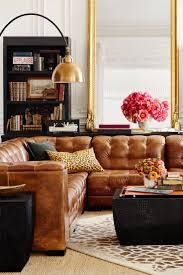 pottery barn living rooms furniture. Ken Fulk X Pottery Barn Brown Leather Sectional Living Room Den Rooms Furniture A