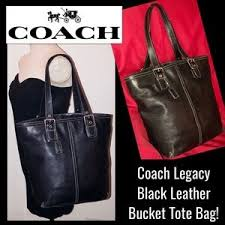 Coach Bags - Coach Legacy Large Black Leather Bucket Tote Bag!